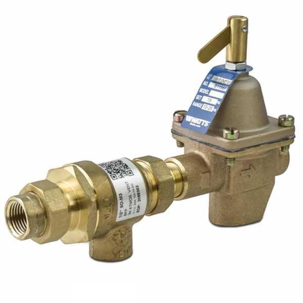"B911-M3, 1/2"" Boiler Fill (1156) & Backflow Preventer (9D) Valve Combination, FNPT x FNPT Union"