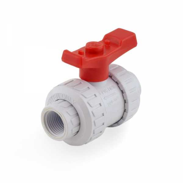 "1/2"" True Union PVC Ball Valve w/ Socket and FPT Ends"