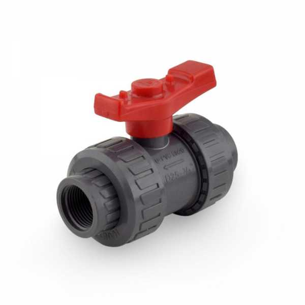 "3/4"" True Union PVC Ball Valve w/ both Socket & FPT ends"