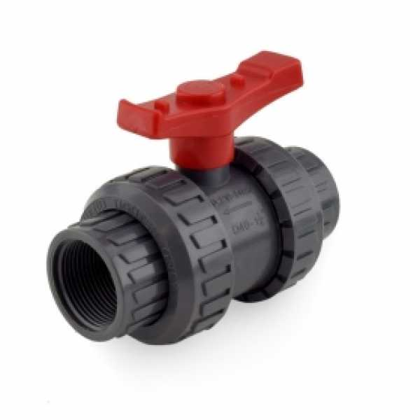 "1-1/4"" True Union PVC Ball Valve w/ both Socket & FPT ends"
