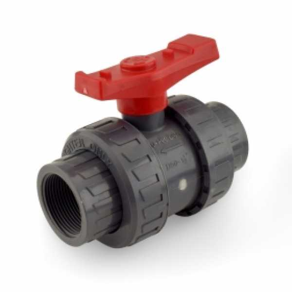 "1-1/2"" True Union PVC Ball Valve w/ both Socket & FPT ends"