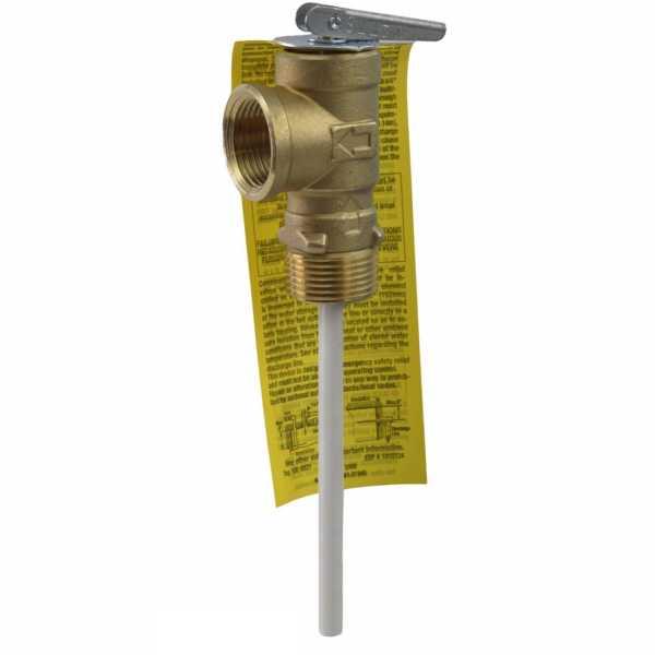 """LF100XL-4, 3/4"""" Temperature & Pressure T&P Relief Valve w/ 4"""" Probe, 150psi/210°F"""