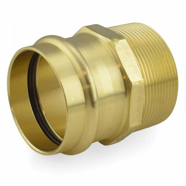 "2"" Press x Male Threaded Adapter, Lead-Free Brass"