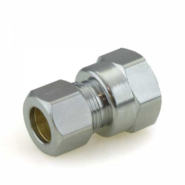 """3/8"""" OD No Tube Stop x 3/8"""" FIP Threaded Compression Adapter, Chrome Plated, Lead-Free"""