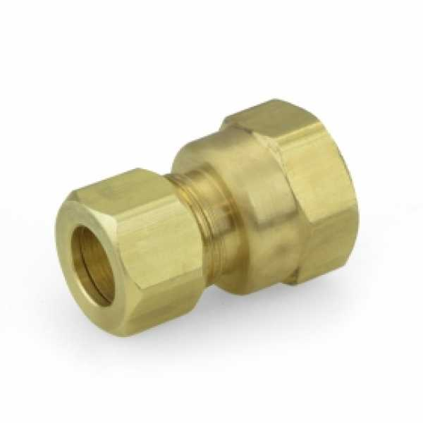 "3/8"" OD No Tube Stop x 3/8"" FIP Threaded Compression Adapter, Lead-Free"