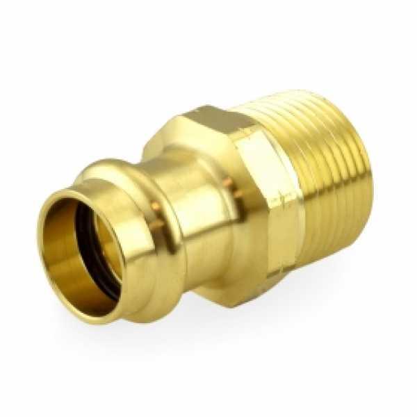 "3/4"" Press x 1/2"" Male Threaded Adapter, Lead-Free Brass"