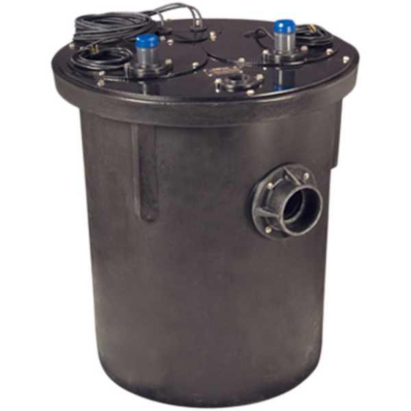 1 HP 1100 Series Duplex Sewage System - 208-230v - 2' Discharge