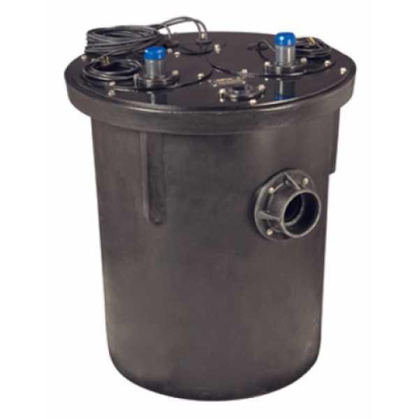 3/4 HP 1100 Series Duplex Sewage System - 208-230v - 2' Discharge