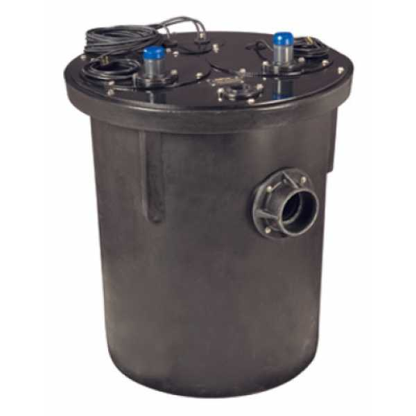 1-1/2 HP 1100 Series Duplex Sewage System - 208-230v - 2' Discharge