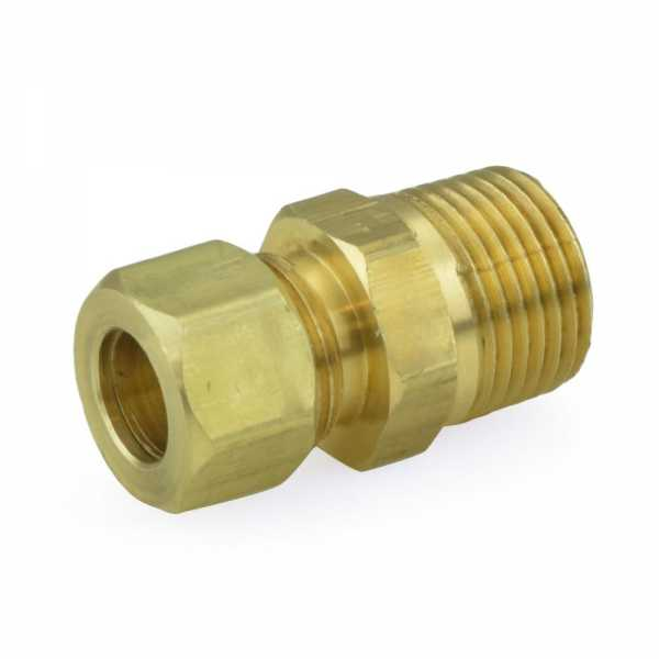 "3/8"" OD No Tube Stop x 3/8"" MIP Threaded Compression Adapter, Lead-Free"