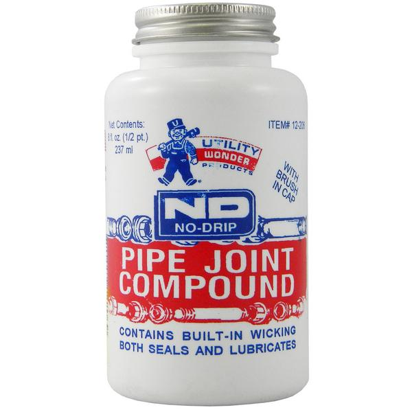 No-Drip Pipe Joint Compound w/ Brush Cap, 8 oz (1/2 pint)