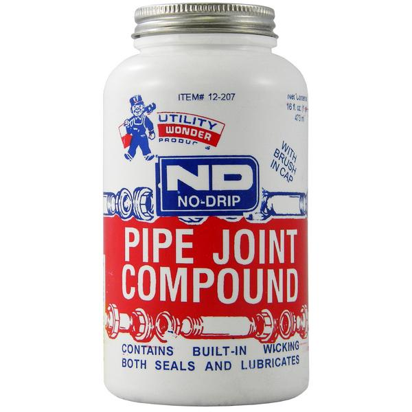 No-Drip Pipe Joint Compound w/ Brush Cap, 16 oz (1 pint)