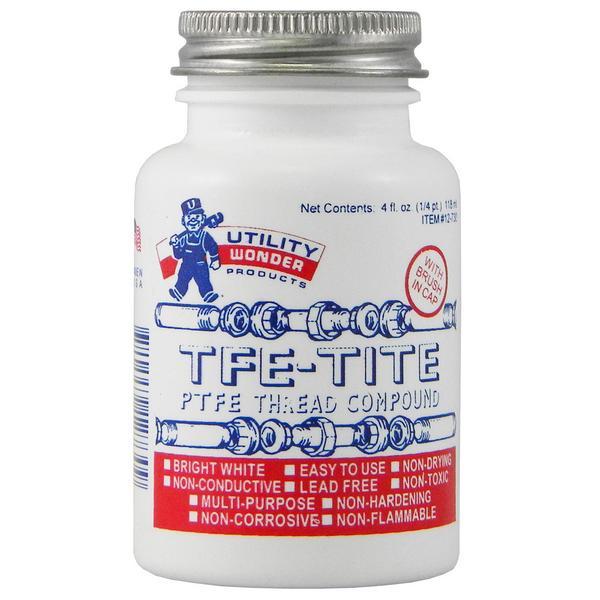 TFE-Tite PTFE Pipe Joint Compound (Teflon Paste) w/ Brush Cap, 4 oz (1/4 pint)