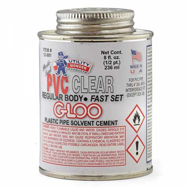 PVC Cement w/ Dauber, Regular-Body Fast-Set, Clear, 8oz