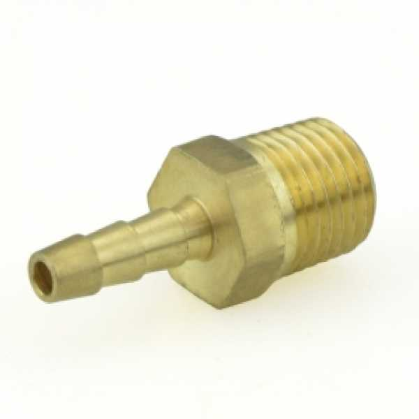 "3/16"" Hose Barb x 1/4"" MIP Brass Adapter, Lead-Free"