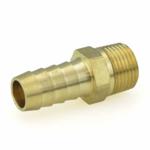 """1/2"""" Hose Barb x 3/8"""" MIP Brass Adapter, Lead-Free"""