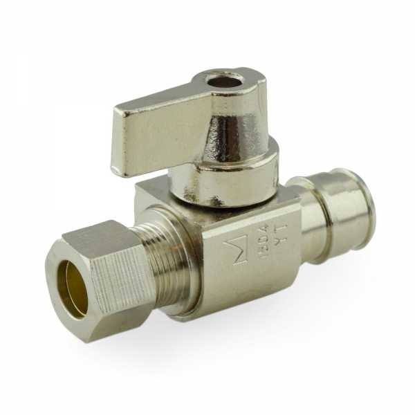 "1/2"" PEX-A x 3/8"" OD Compression Straight Stop Valve, Lead-Free"