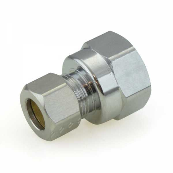 """3/8"""" OD No Tube Stop x 1/2"""" FIP Threaded Compression Adapter, Chrome Plated, Lead-Free"""