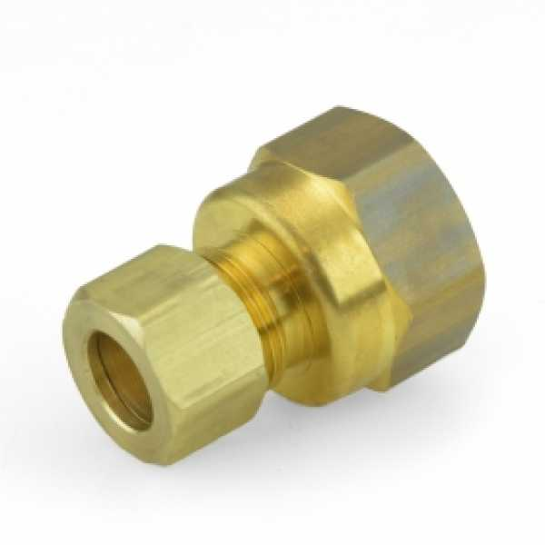 "3/8"" OD No Tube Stop x 1/2"" FIP Threaded Compression Adapter, Lead-Free"