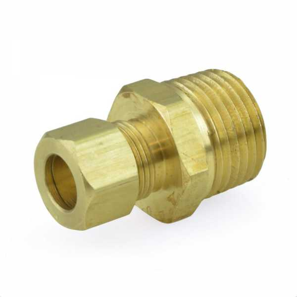 "3/8"" OD No Tube Stop x 1/2"" MIP Threaded Compression Adapter, Lead-Free"