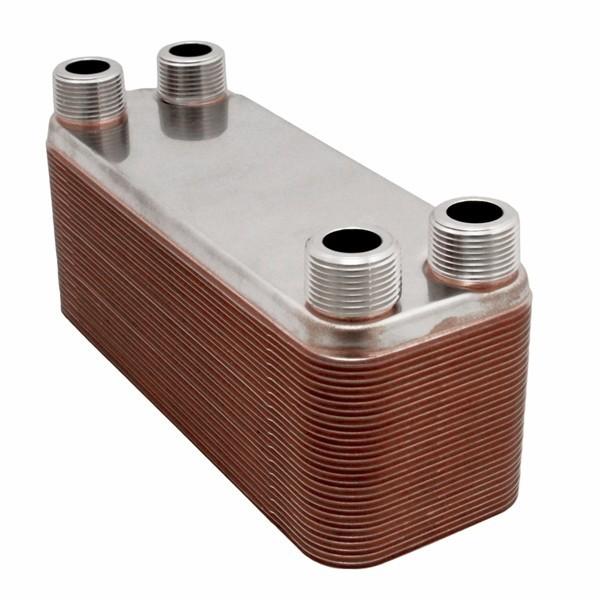 "10-Plate, 4-1/4"" x 12"" Brazed Plate Heat Exchanger w/ 1"" MNPT Ports"