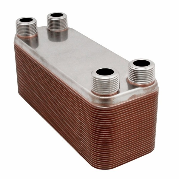"40-Plate, 4-1/4"" x 12"" Brazed Plate Heat Exchanger w/ 1"" MNPT Ports"
