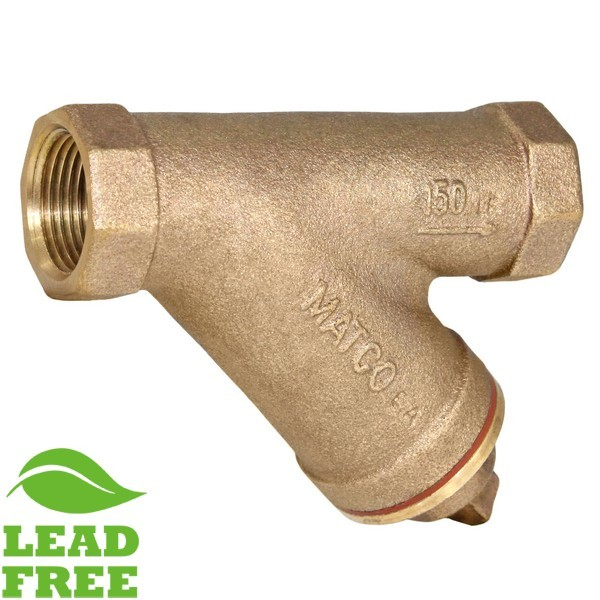"1/2"" FPT Cast Brass Y-Strainer w/ Plug, Lead Free"