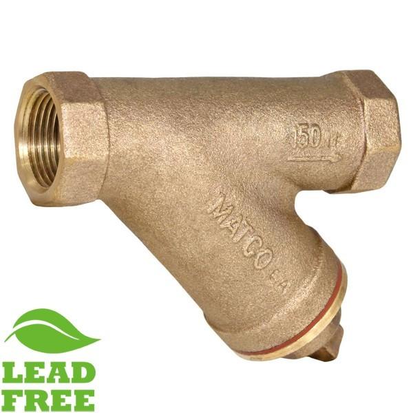 "Matco Norca 145T06LF 1-1/4"" IP Bronze Y-strainer w/ Plug, Lead Free"