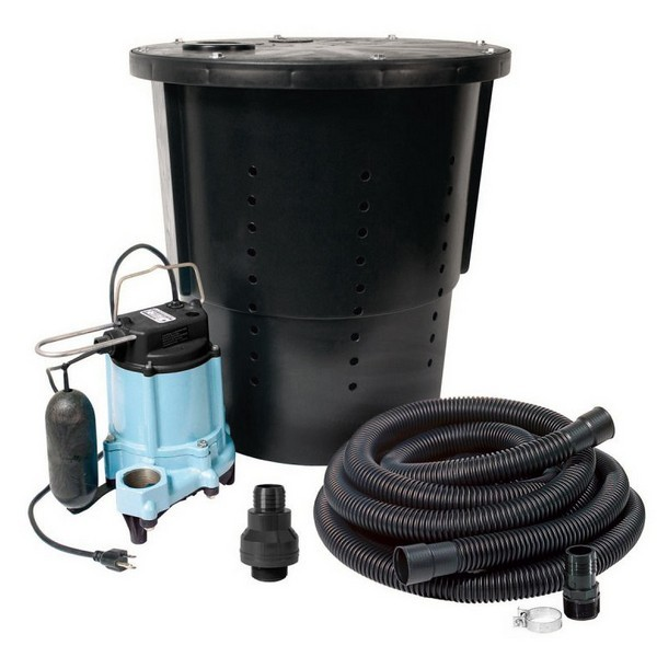 "Crawl Space Sump Pump Kit w/ 18"" x 22"" basin, 1/3HP Sump Pump, 25' cord, 24' Drain Hose & Check Valve, 115V"