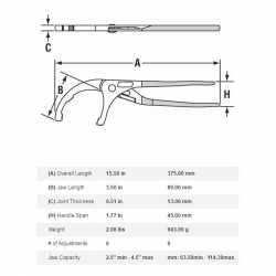 "15.5"" PVC Plier, 2.5"" - 4.5"" Jaw Capacity"