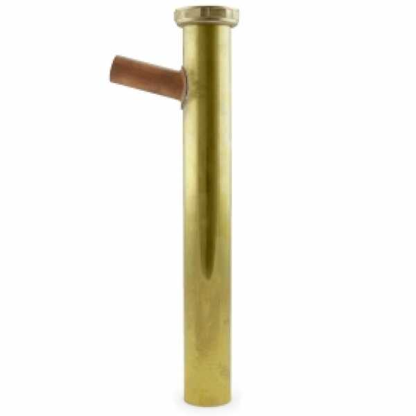 """1-1/2"""" x 12"""", 22GA, Flanged Dishwasher Tailpiece w/ 7/8"""" OD Outlet, Rough Brass"""