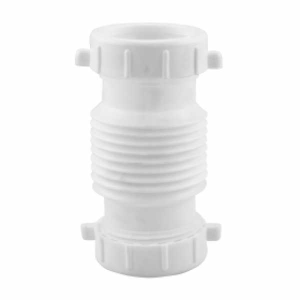 "1-1/2"" or 1-1/4"" Flexible Extendable Drain Connector, White Plastic"