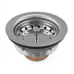 St. Steel Big Boy Kitchen Sink Drain Strainer w/ Spring Clip Basket