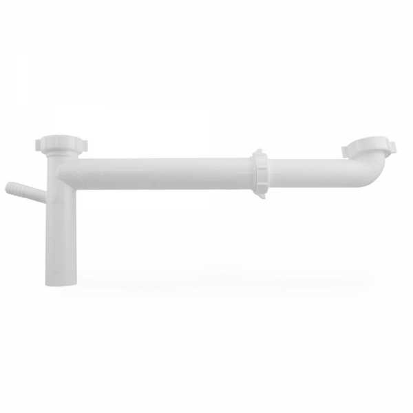"1-1/2"" End Outlet Waste Kit w/ Dishwasher Tailpiece, Adjustable (12""-16""), White Plastic"