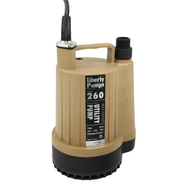 "Liberty Pumps 260 1/6 HP Utility Submersible Pump, 115V, 8"" cord"