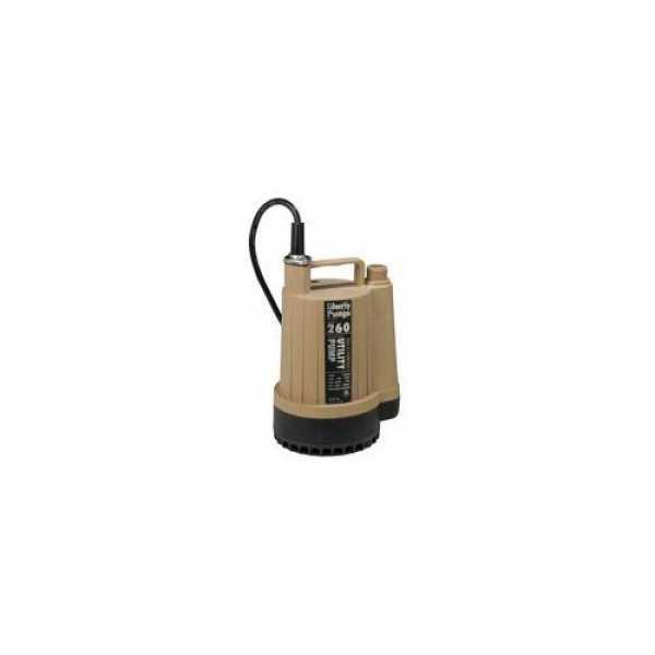 1/6 HP Manual Submersible Utility Pump (Garden Hose Connection) - 115v - 8 ft Cord