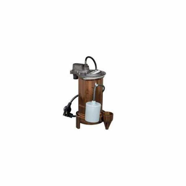 1/2 HP Automatic Effluent Pump w/ Wide-Angle Piggyback Float Switch - 208-230v, 10 ft Cord