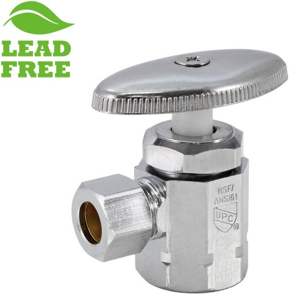 "Matco Norca 29-1003LF 1/2"" Threaded Inlet x 3/8"" OD Angle Stop Valve, Lead Free"