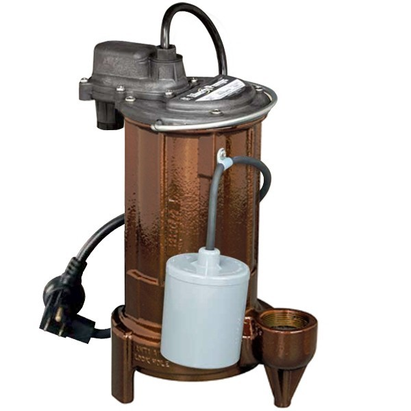 "Liberty Pumps 293 3/4 HP Automatic Sump / Effluent Pump w/ Piggyback Wide Angle Float Switch, 110V ~ 120V, 10"" cord"