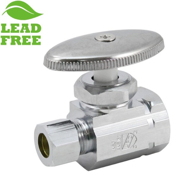 "1/2"" FIP x 3/8"" OD Compression Straight Stop Valve (Multi-Turn), Lead-Free"