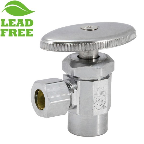 "1/2"" Sweat x 3/8"" OD Compression Angle Stop Valve (Multi-Turn), Lead-Free"
