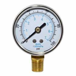 "100 psi Pressure Gauge w/ 1/4"" MNPT connection"