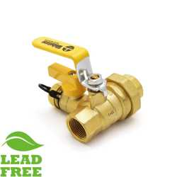 "3/4"" NPT Threaded Union Ball Valve w/ Hose Drain, Full Port (Lead-Free)"