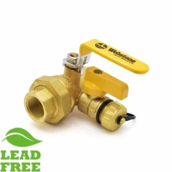 "3/4"" NPT Threaded Union Brass Ball Valve w/ Hose Drain, Full Port (Lead-Free)"