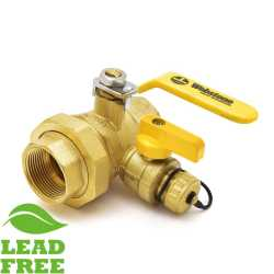 "1-1/4"" NPT Threaded Union Ball Valve w/ Hose Drain, Full Port (Lead-Free)"