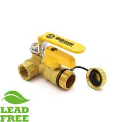 "1/2"" NPT Threaded Brass Ball Valve w/ Hose Drain, Full Port (Lead-Free)"