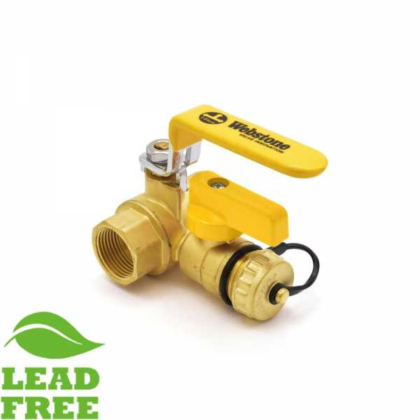 "3/4"" NPT Threaded Brass Ball Valve w/ Hose Drain, Full Port (Lead-Free)"