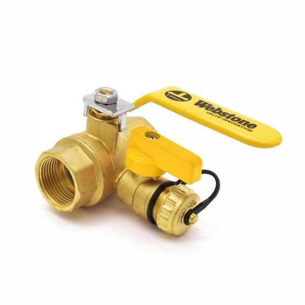 Webstone Valves 40614 1 inch Brass Ball Valve w/ Hose Drain, NPT Threaded, Full Port