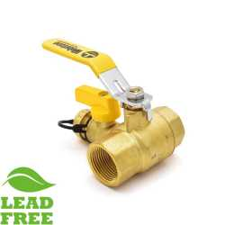 "1"" NPT Threaded Brass Ball Valve w/ Hose Drain, Full Port (Lead-Free)"