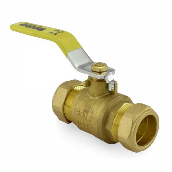 "1"" Compression (1-1/8"" OD) Brass Ball Valve, Full Port (Lead-Free)"